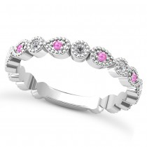 Alternating Diamond & Pink Sapphire Wedding Band 14k White Gold (0.21ct)