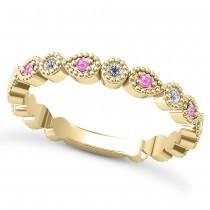 Alternating Diamond & Pink Sapphire Wedding Band 14k Yellow Gold (0.21ct)