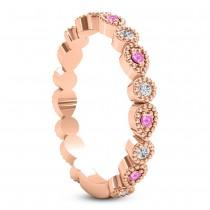Alternating Diamond & Pink Sapphire Wedding Band 18k Rose Gold (0.21ct)