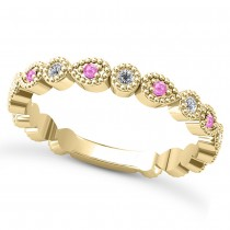 Alternating Diamond & Pink Sapphire Wedding Band 18k Yellow Gold (0.21ct)
