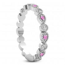 Alternating Diamond & Pink Sapphire Wedding Band Platinum (0.21ct)