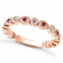 Alternating Diamond & Ruby Wedding Band 14k Rose Gold (0.21ct)