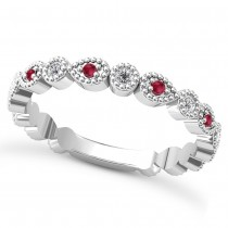 Alternating Diamond & Ruby Wedding Band 14k White Gold (0.21ct)