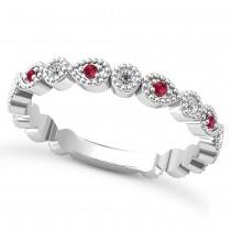Alternating Diamond & Ruby Wedding Band 14k White Gold (0.21ct)