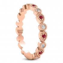 Alternating Diamond & Ruby Wedding Band 18k Rose Gold (0.21ct)