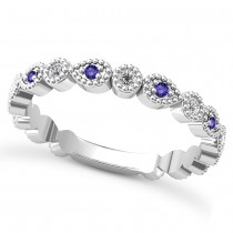Alternating Diamond & Tanzanite Wedding Band 14k White Gold (0.21ct)