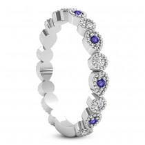 Alternating Diamond & Tanzanite Wedding Band 14k White Gold (0.21ct)