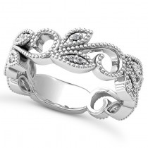 Diamond Vine Leaf Ring w/ Milgrain Edging 14k White Gold (0.07ct)