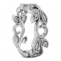 Diamond Vine Leaf Ring 14k White Gold 0.07ct