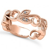 Diamond Vine Leaf Ring w/ Milgrain Edging 18k Rose Gold (0.07ct)