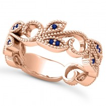 Blue Sapphire Vine Leaf Ring w/ Milgrain 14k Rose Gold (0.07ct)