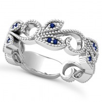 Blue Sapphire Vine Leaf Ring w/ Milgrain 14k White Gold (0.07ct)