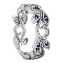 Blue Sapphire Vine Leaf Ring w/ Milgrain 14k White Gold (0.07ct)