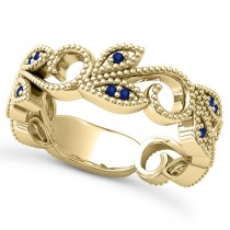 Blue Sapphire Vine Leaf Ring w/ Milgrain 14k Yellow Gold (0.07ct)