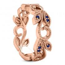 Blue Sapphire Vine Leaf Ring w/ Milgrain 18k Rose Gold (0.07ct)