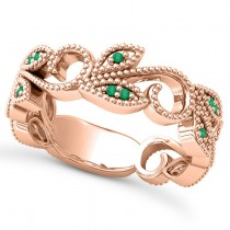 Emerald Vine Leaf Ring w/ Milgrain 14k Rose Gold (0.07ct)