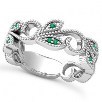 Emerald Vine Leaf Ring w/ Milgrain 14k White Gold (0.07ct)