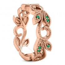 Emerald Vine Leaf Ring w/ Milgrain 18k Rose Gold (0.07ct)