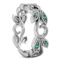 Emerald Vine Leaf Ring w/ Milgrain 18k White Gold (0.07ct)