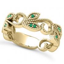 Emerald Vine Leaf Ring w/ Milgrain 18k Yellow Gold (0.07ct)