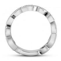 Emerald Vine Leaf Ring w/ Milgrain Platinum (0.07ct)