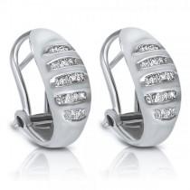 Ladies Baguette Diamond Earrings/Huggies in 14k White Gold (0.38ct.)