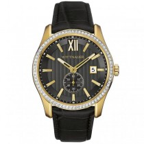 Men's Wittnauer Quartz Watch Gold Tone with Crystals & Leather Strap