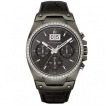 Men's Wittnauer Watch w/ Gunmetal Dial, Crystals & Black Leather Strap