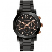 Men's Wittnauer Watch Black Ceramic Chronograph with Rose Accents
