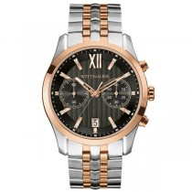 Men's Wittnauer Watch Black Dial 2-Tone Stainless Steel Chronograph