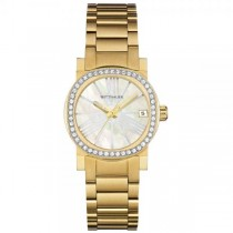 Women's Gold Tone Wittnauer Watch with Mother of Pearl Dial & Crystals
