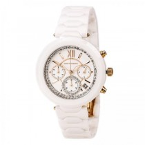 Women's Wittnauer Quartz Watch Chronograph White Ceramic with Crystals