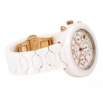 Women's Wittnauer Quartz Watch Chronograph White Ceramic with Crystals