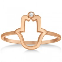 Hamsa Hand Ring with Diamond Accent for Women 14k Rose Gold 0.01ct