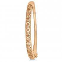 Vintage Style Diamond Bangle Bracelet 14k Rose Gold (0.25ct)