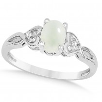 Diamond Accented Opal Right Hand Ring 14k White Gold (0.52ct)