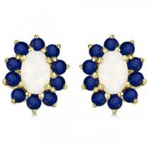 Oval Opal & Blue Sapphire Post Stud Earrings 14k Yellow Gold (2.64ct)