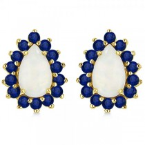 Pear Opal & Blue Sapphire Post Stud Earrings 14k Yellow Gold (2.25ct)