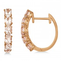 Oval Morganite Hinged Hoop Earrings 14k Rose Gold (1.73ct)