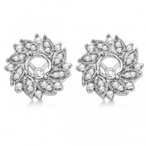 Diamond Accented Flower Earring Jackets
