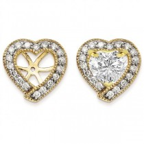 Diamond Accented Heart Earring Jackets