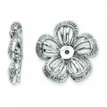 Diamond Accented Flower Earring Jackets 14k White Gold (0.03ct)