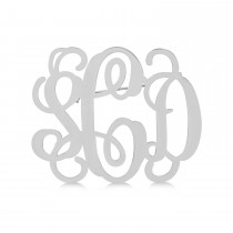 Initial Monogram Brooch Pin 14k White Gold over Sterling Silver