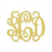 Initial Monogram Brooch Pin 14k Yellow Gold over Sterling Silver