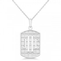 Sandblast Monogram Initial Dog Tag Necklace in 14k White Gold