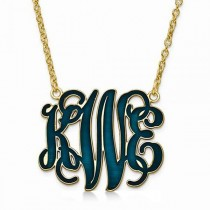 Enamel Monogram Initial Pendant Necklace Yellow Gold, Sterling Silver