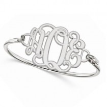 Three Initial Monogram Bangle Bracelet White Gold w Sterling Silver