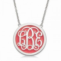 Solid Enamel Monogram Initial Circle Pendant in Sterling Silver