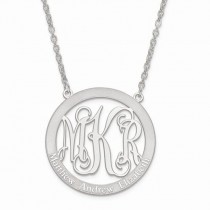 Family Names & Initial Monogram Pendant Necklace 14k White  Gold