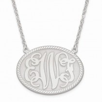 Medium Oval Monogram Initial Plate Pendant Necklace in 14k White Gold